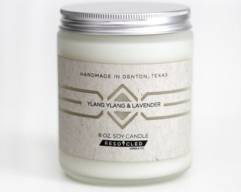 Ylang Ylang & Lavender Soy Candle in Frosted Glass Jar 8oz