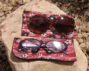 Red and Black Floral Eyeglass/Sunglasses Case