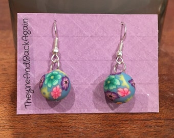 Multicolored Flowers on SkyBlue Clay Bead Earrings
