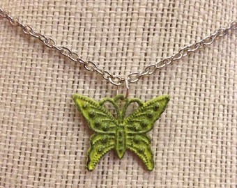 """18"""" Neon Yellow Butterfly Necklace"""