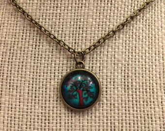 "16"" Blue&Brown Tree of Life Glass Pendant Necklace"