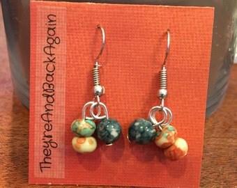 Teal,Orange&DarkBlue Marbled Bead Earrings