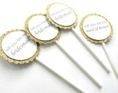 Gold Wedding Party Cupcake Toppers. Asking Wedding Party. Bridesmaid. Maid of Honor. Wedding Cupcakes. Bride to Be.