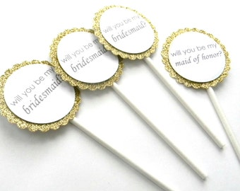 6 Gold Wedding Party Cupcake Toppers, Asking Wedding Party, Bridesmaid, Maid of Honor, Wedding Cupcakes, Wedding Picks, Gold Glitter Topper