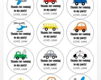 12 Transportation Vehicle Stickers, Car Theme, First Birthday, Thanks for Coming, Birthday Stickers, Vehicle Party, All About Cars, Trucks