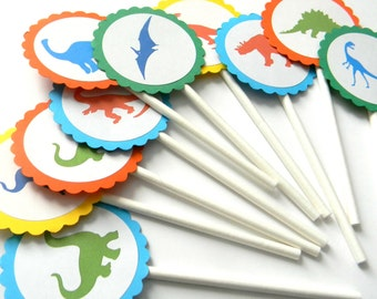 12 Dinosaur Cupcake Toppers, Dino Birthday, First Birthday, Dino Theme, Boy Birthday, Dinosaur Birthday, Dinosaur Toppers, Cake Topper