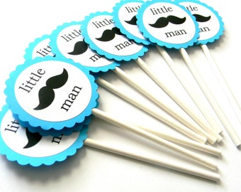 12 Teal Little Man Mustache Cupcake Toppers, Little Man Birthday, Mustache Theme, Baby Shower, It's a Boy, Baby Shower