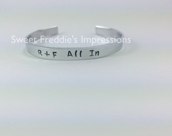 Bangle Bracelet - R + F All In - Rodan and Fields - Cuff Bracelet - Rodan and Field Bracelet - Custom Bracelet - Personalize Bracelet - WHY