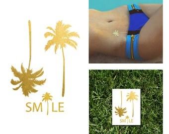 Palm Trees Metallic Temporary Tattoo