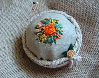 Pincushion , handmade , embroidered  pincushion  , sewing  supplies , craft supplies