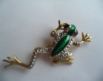 Vintage Unsigned Goldtone/Faux Marcasite Climbing Frog Brooch/Pin