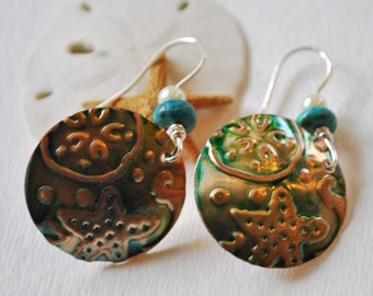 Sea life copper earrings with teal patina, pearls, and turquoise, metal earrings, rustic earrings, artisan earrings