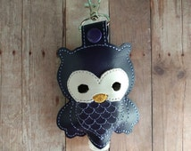 Owl Hand Sanitizer Holder- Dark Purple Embroidered Vinyl with Snap, Great for Backpacks, Bags and Purses, Choose From Assorted Colors