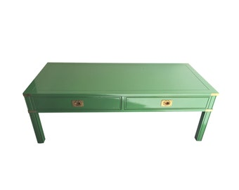 Vintage Green Lacquered Campaign Style Coffee Table by Thomasville
