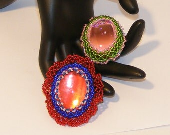 2 Brooches to Choose From - Red White Blue Patriotic Brooch OR Pink Glass Cabachon w/Green Beaded Bezel, Old Fashioned Jewelry