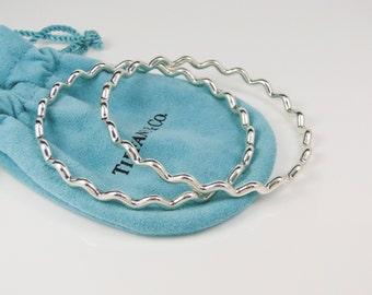Pair of Tiffany & Co. Paloma Picasso Silver Zig Zag Wave Bangles Bracelets