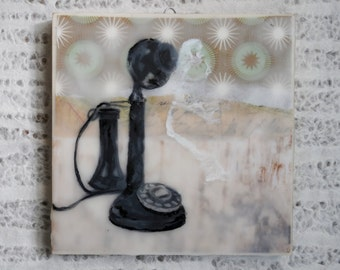 Antique, Vintage, Home Decor: Encaustic Candlestick Telephone