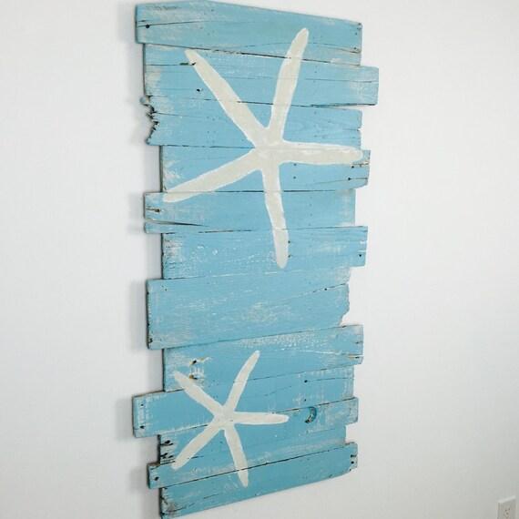 """Beach Decor Surf and Starfish Reclaimed Wood 24"""" x 43"""" – Nautical decor, coastal decor, beach decor, beach room, beach house, tropical"""