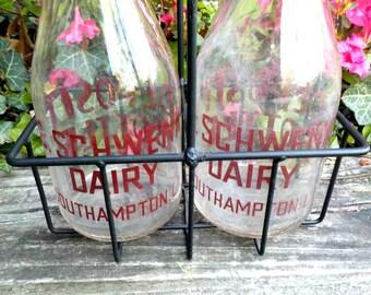 Pair of Vintage Milk Bottles with Carrier, Schwenk Dairy, Southhampton, Long Island, Farmhouse Kitchen Decor
