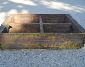 Coke Crate Coca Cola Vintage Wooden Crate Yellow With Dividers #10