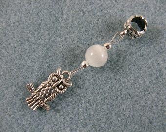 Dreadlock charm dangle with owl and white cat's eye bead