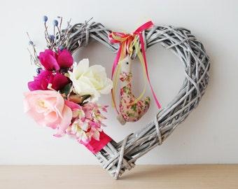 Duck and flowers wreath, wicker heart shaped wreath, multi color flowers wreath with duck plushie, wicker door wreath, summer wreath