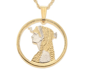"""Egyptian Cleopatra Pendant and Necklace, Egyptian Cleopatra Coin Hand Cut, 14 Karat Gold and Rhodium Plated, 7/8"""" in Diameter, ( # 887 )"""