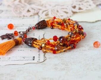 Colorful Boho Gypsy Bracelet, Beaded bracelet, Orange Tassel Bracelet, Multi strand Macrame Bracelet, Elephant bracelet