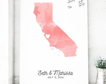 Watercolor State Guest Book Alternative,  Canvas Wedding Guest book, Watercolor Map Guest book, CANVAS Guest Book - The StateLove