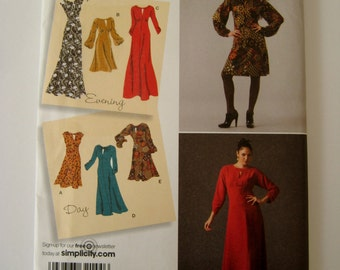 Simplicity 2801 Sewing Pattern Sleeveless Dress Empire Waist Short Sleeve Evening Length Size 6 8 10 12 14 UNCUT