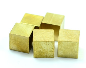 15 pcs. Raw Brass Industrial 10x10 mm Cube Geometric  No Hole Findings