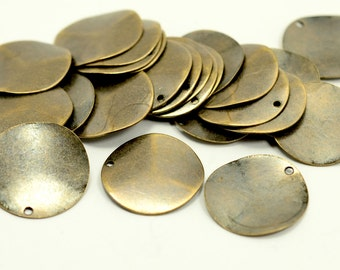 20 Pcs. Antique Brass 20 mm Round 1 Hole Curved Stamping Blanks