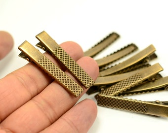 150 pcs. Antique Brass 10x46 mm  Hair Alligator Clips Blanks ,Hair Accessory