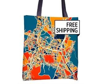 Busan Map Tote Bag - Korea Map Tote Bag 15x15