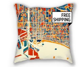 Long Beach Map Pillow - California Map Pillow 18x18