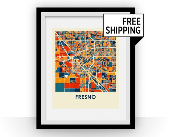 Fresno map print full color map poster for Color fresno