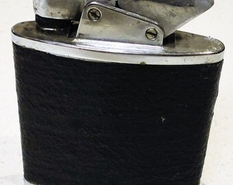 The Giant Vintage Table Lighter Silver Tone Black Leather 1970 Home Decor Collectible
