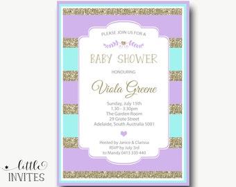 baby shower invitation/lavender and turquoise baby shower/lavender and turquoise invitation/High Tea Invitation/DIY printable-Viola