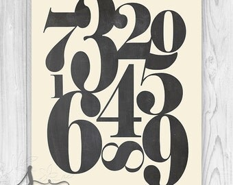 Chalkboard Number Art, Numerology, Typographic Art Print, Vintage Number Art, Numbers ART PRINT - Home Decor - Wall Art Print