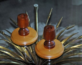 Vintage two toned wooden taper candle holders