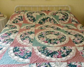 Drunkard's Path/ Fan Pattern Quilt With Crochet Embellishments/Handmade/Very Old, Multi Colored/OOAK/Heirloom Quilt/Textile Art