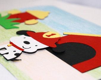 Handmade Birthday or Friendship/Encouragement Card - Fire Dog Birthday Card - Kids Birthday Card - Blank Inside