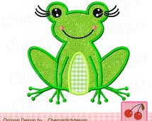 Cute Girly Frog,Frog Applique,Girl frog Digital Embroidery Applique AN0016 -4x4 5x5 6x6 inch-Machine Embroidery Applique Design