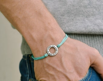 Life is what you make of it bracelet for men, Birthday gift, karma men's bracelet with silver circle, turquoise cord, inspiration jewelry