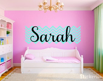 Personalized Chevron Pattern Name Monogram #2 Girls Wall Decal Graphic Vinyl Sticker Home Bedroom Nursery Wall Decor