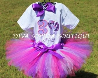 My Little Pony Tutu Set -Personalized Twilight Sparkle Tutu Set - Birthday Outfit