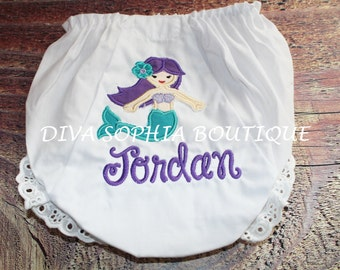 Personalized Mermaid Bloomers - Personalized Diaper Cover - Birthday