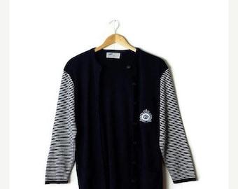ON SALE Vintage Navy x Stripe Round neck Wool Light Sweater Cardigan*