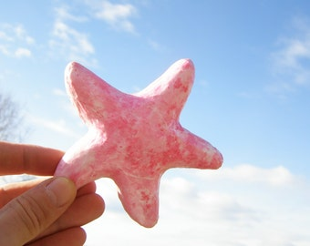 Pink Sea Star,Decorative Hand Made Sea Star Fridge Magnet, refrigerator funny magnet,nautical design,home or office decoration