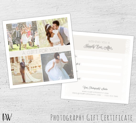 wedding gift card wedding photography photography gift certificate template happily ever. Black Bedroom Furniture Sets. Home Design Ideas